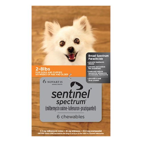 Sentinel Spectrum Chews  for Dogs 2-8 lbs (Orange)