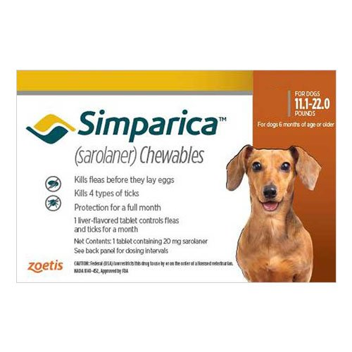 Simparica Chewables for Dogs 11.1-22 lbs (Brown)