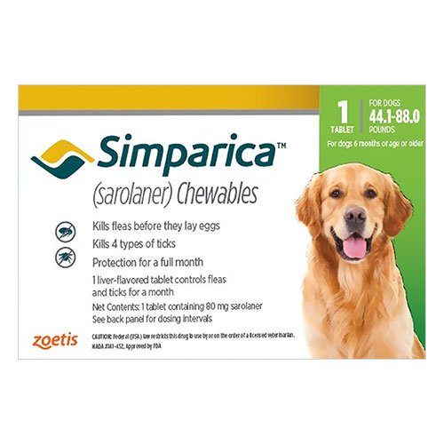 Simparica Chewables for Dogs 44.1-88 lbs (Green)