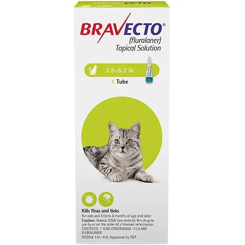 Bravecto Spot On for Small Cats 2.6 lbs - 6.2 lbs (Green)