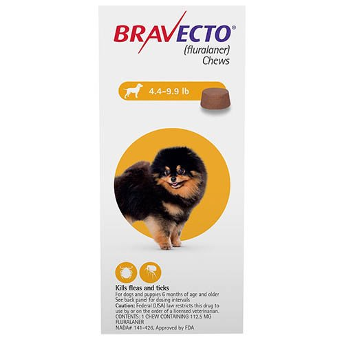 Bravecto for Toy Dogs 4.4 to 9.9 lbs (Yellow)