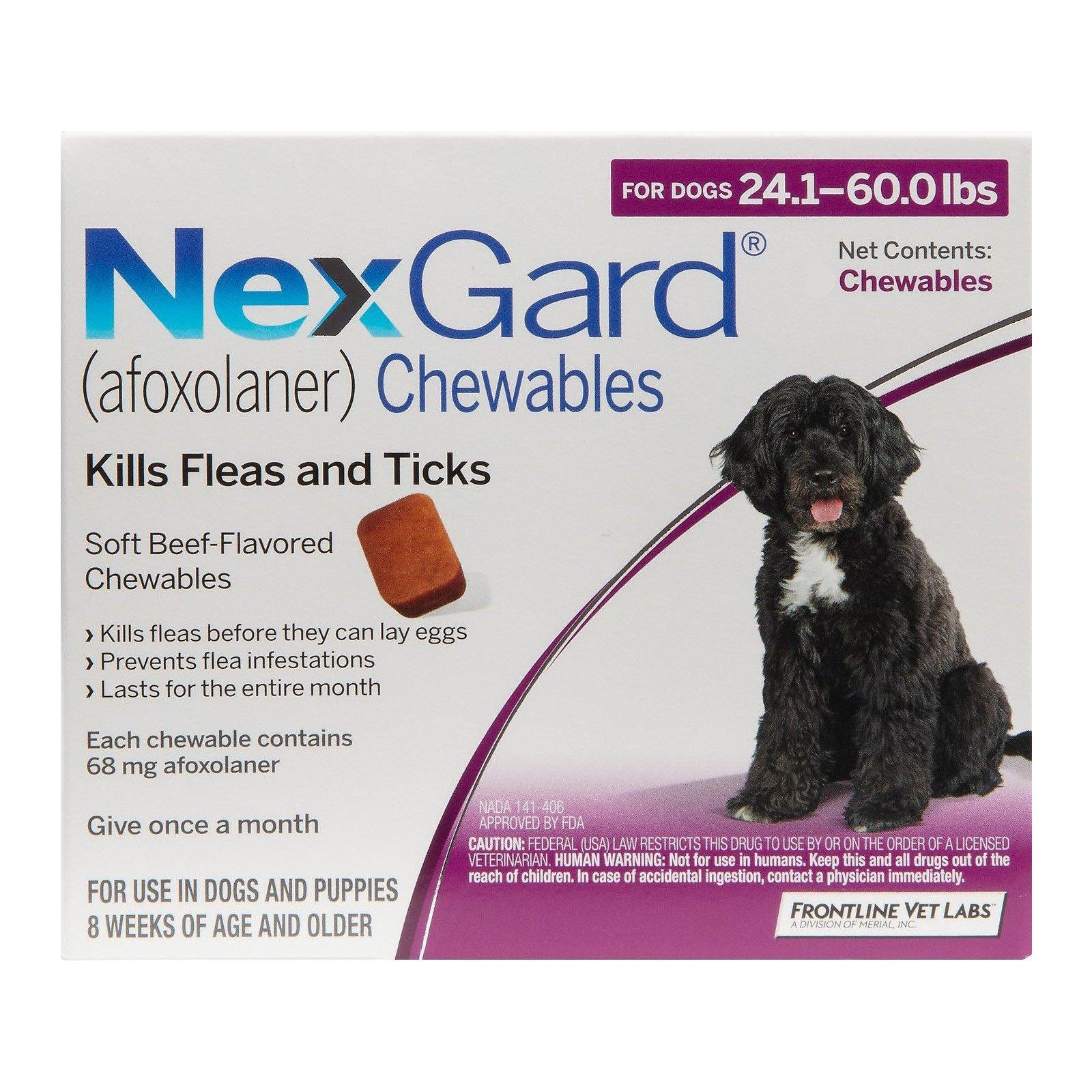 Nexgard Chewables for Large Dogs 24.1-60 lbs (Purple) 68mg