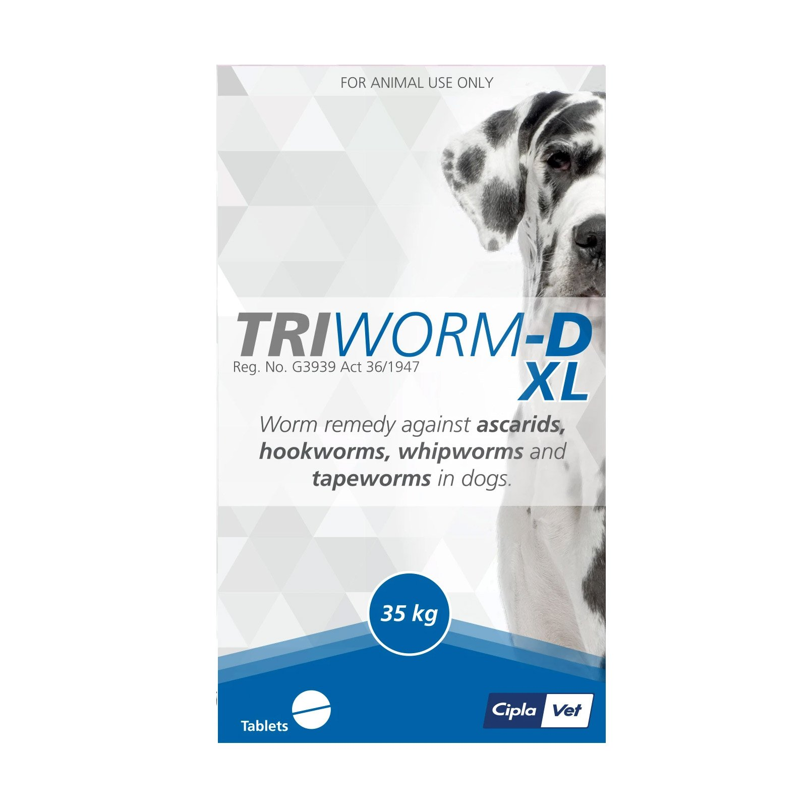 Triworm-D Dewormer For Large Dogs 35Kgs